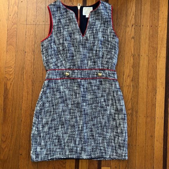 Women's STS tweed dress nautical red navy white 10